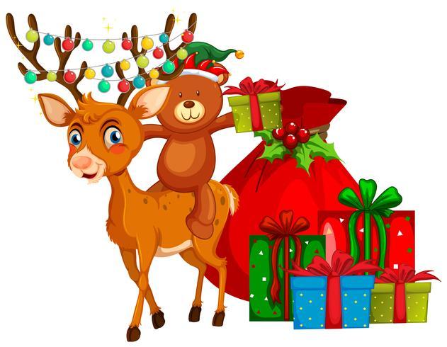 Tema de Natal com renas e presentes