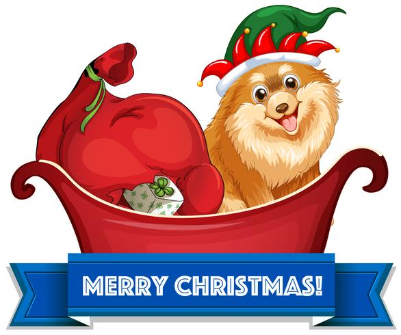 Tema navideño con perros y regalos en trineo.