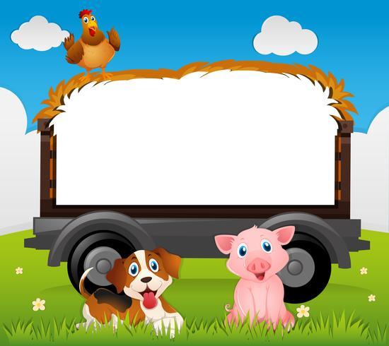 Modelo de fronteira com cachorro e porco
