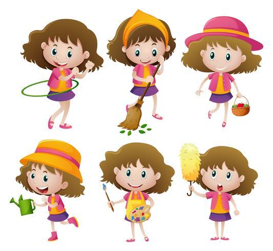 Girl doing six different activities