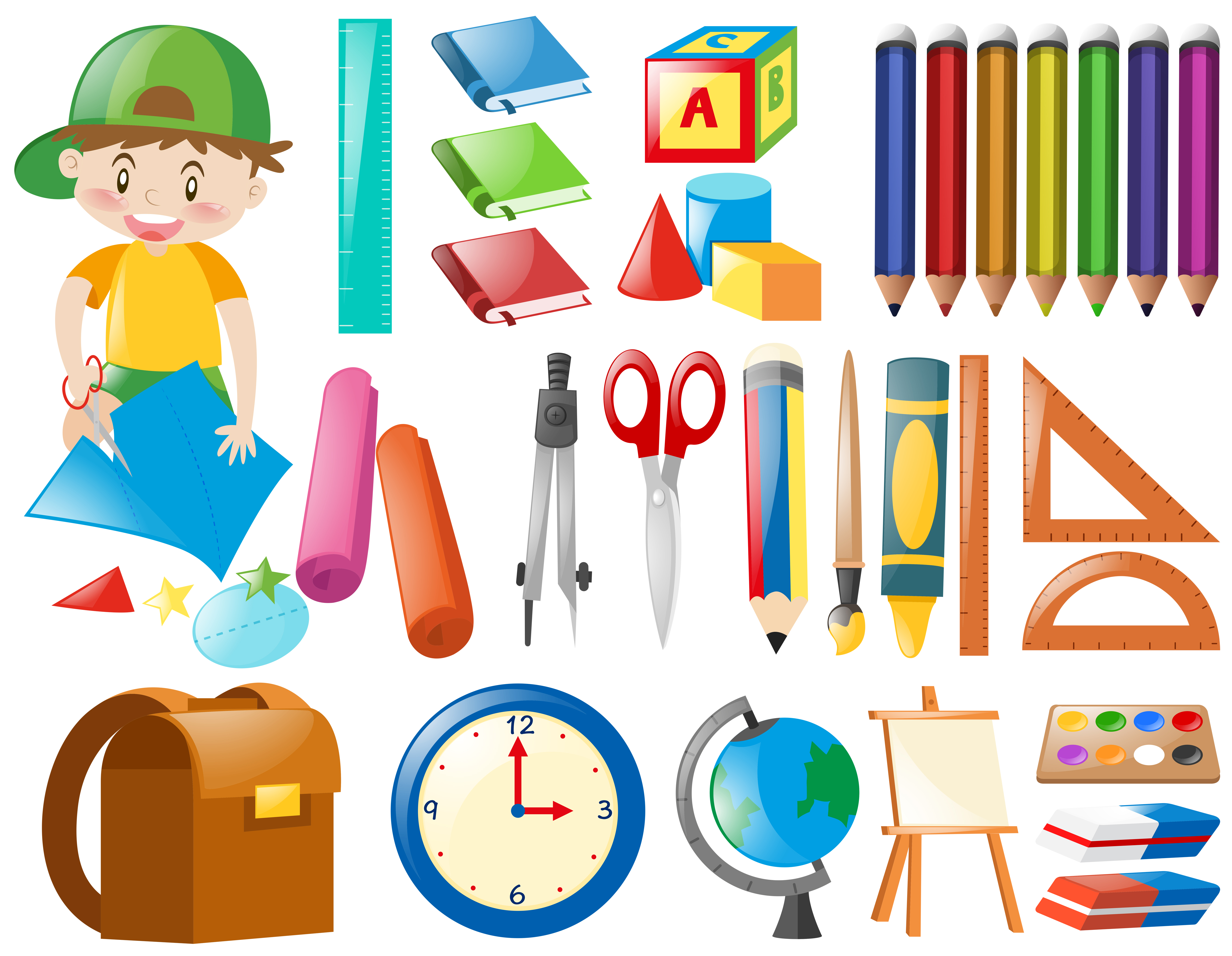 Different objects for school - Download Free Vectors ...
