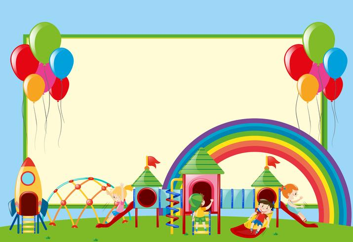 Plantilla de frontera con niños en el patio de recreo