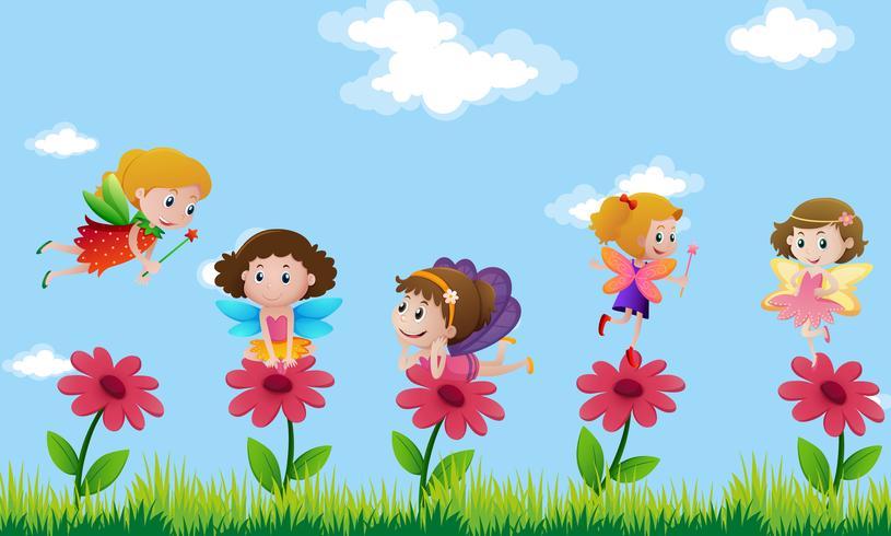 Fadas voando no jardim de flores