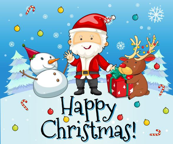 Tema navideño con santa y muñeco de nieve.