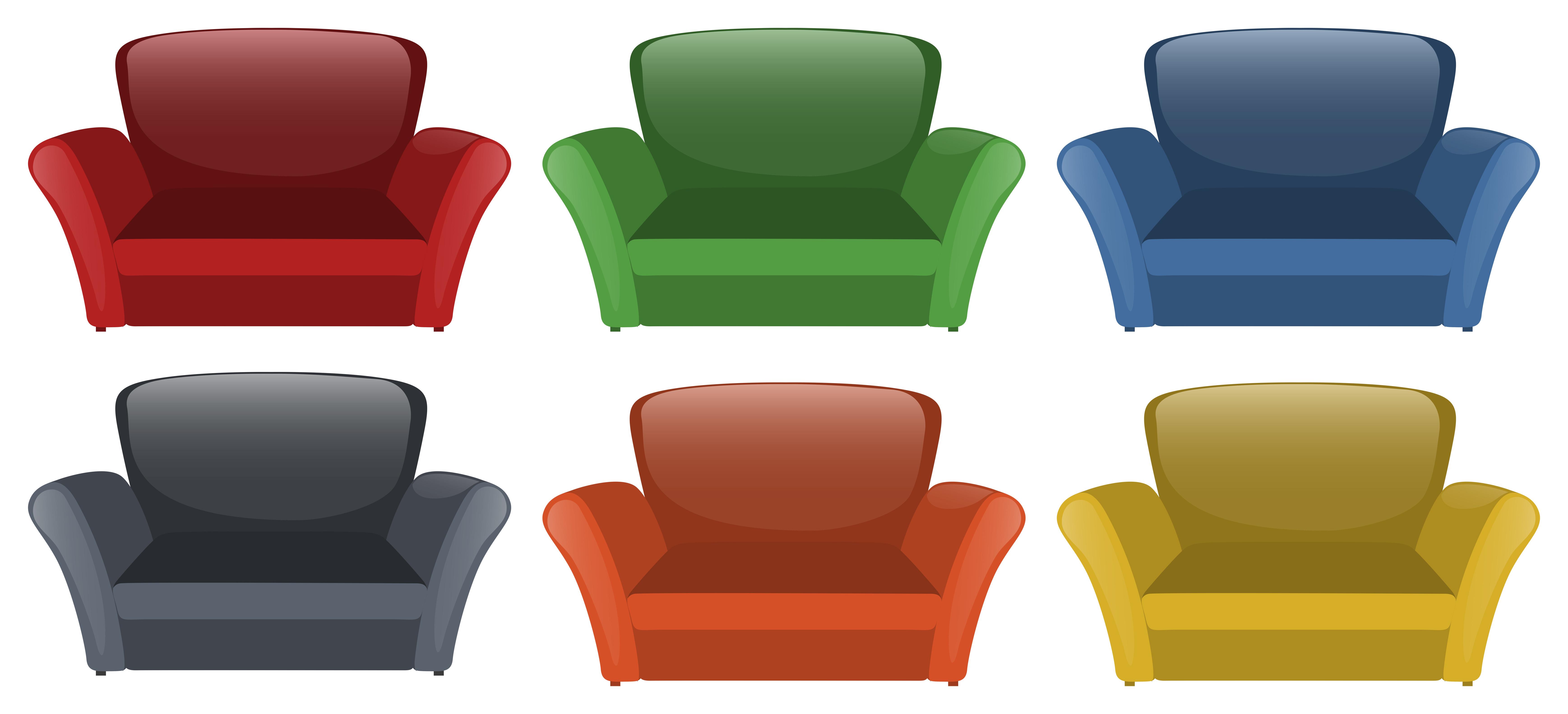 Sofa in six different colors - Download Free Vectors ...