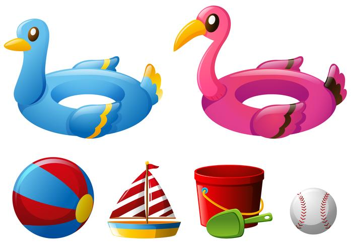 Beach toys with floating rings and ball vector