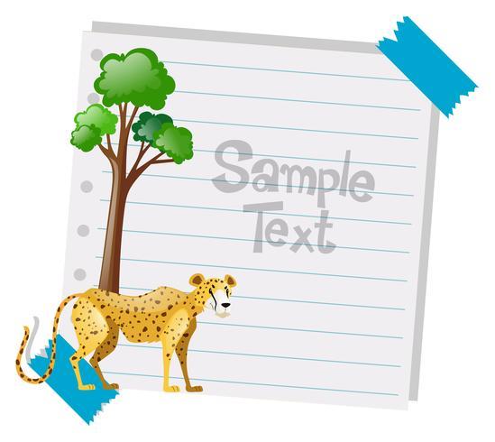 Papierschablone mit Gepard im Hintergrund