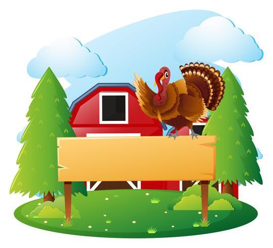 Modelo de sinal de madeira e a Turquia no quintal