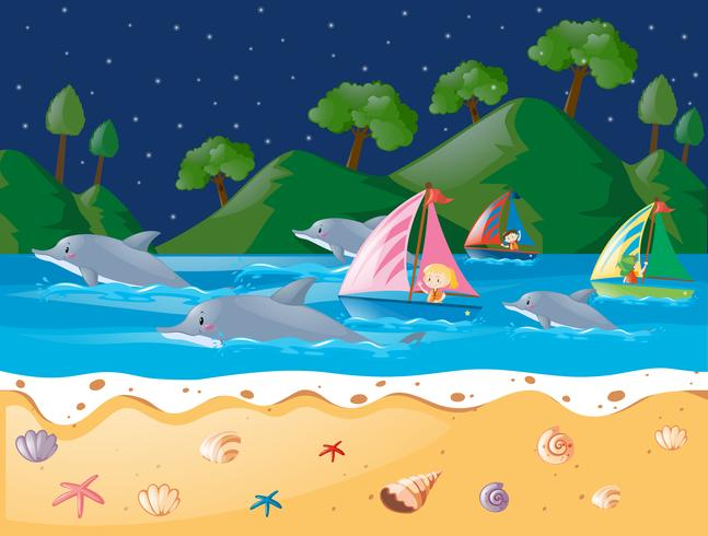 Ocean scen med delfiner och segelbåt vektor