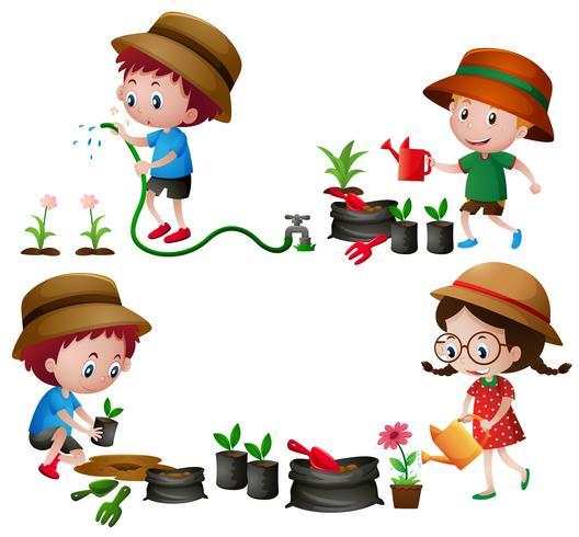Quattro bambini che innaffiano e piantano alberi