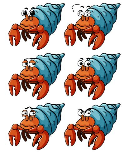 Hermit crabs with different emotions vector