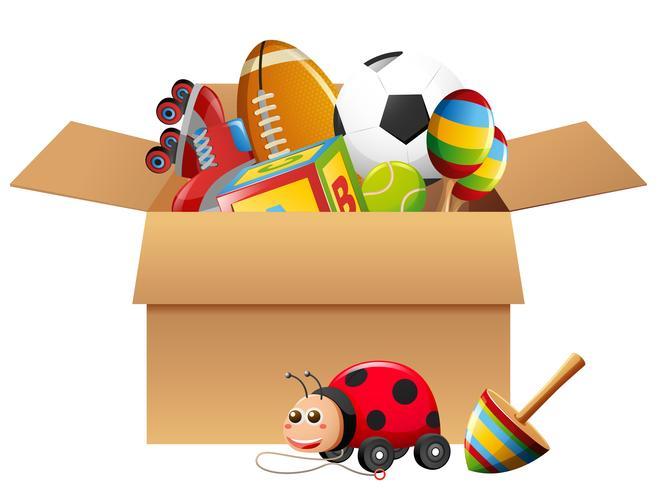 Différents types de jouets en boîte