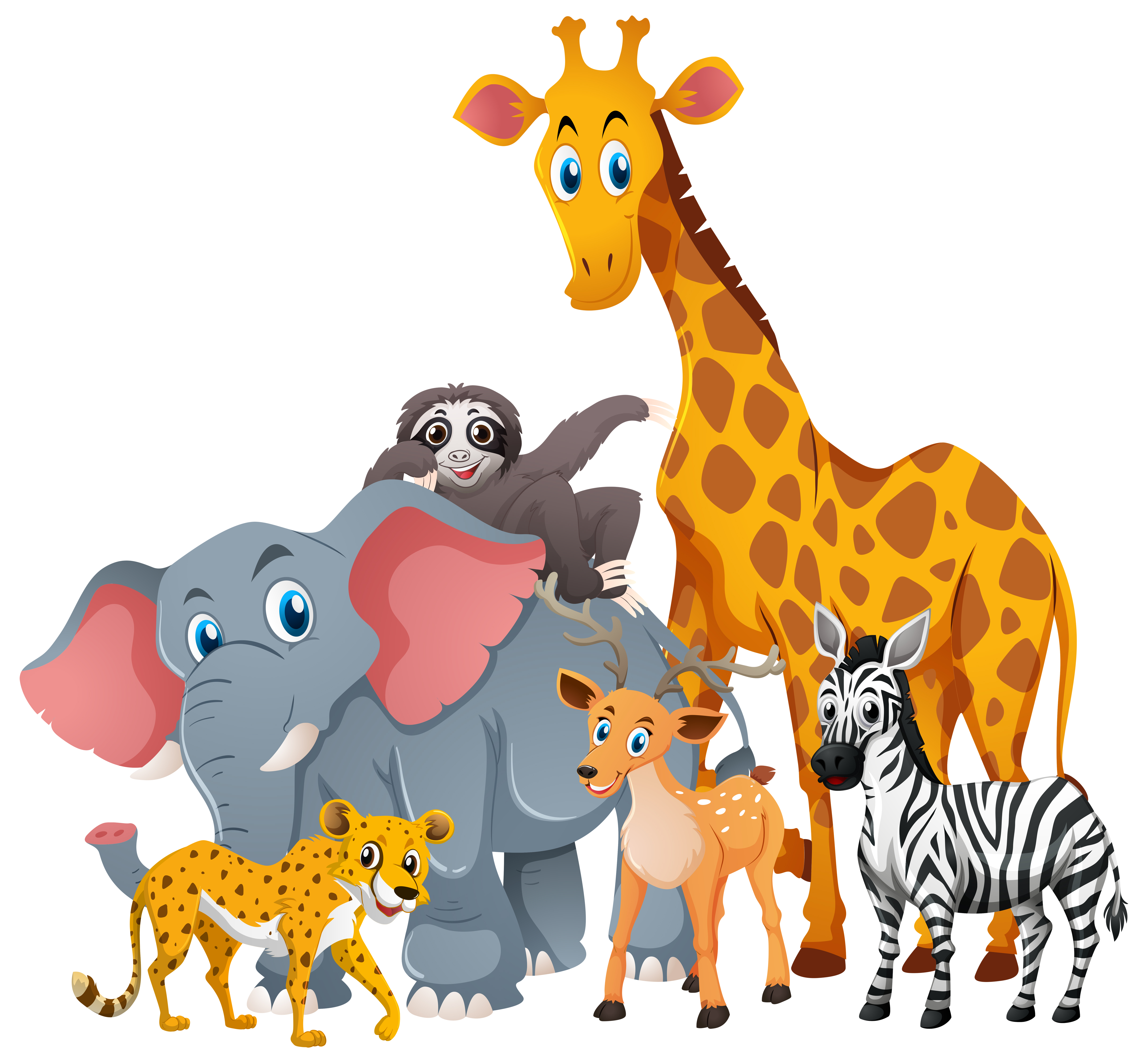 Wild animals in group - Download Free Vectors, Clipart ...