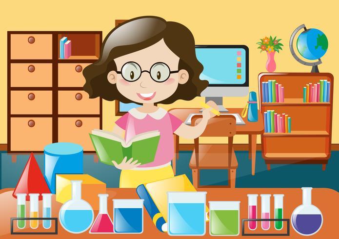 Lärare med bok och vetenskap utrustning