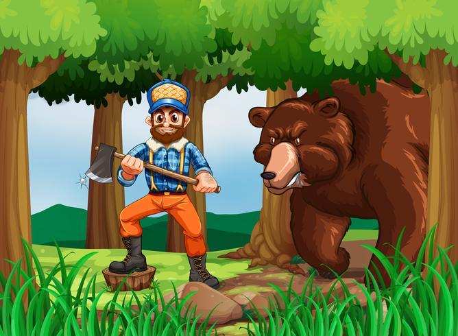 Macaco de madeira serrada com machado e grande urso na floresta