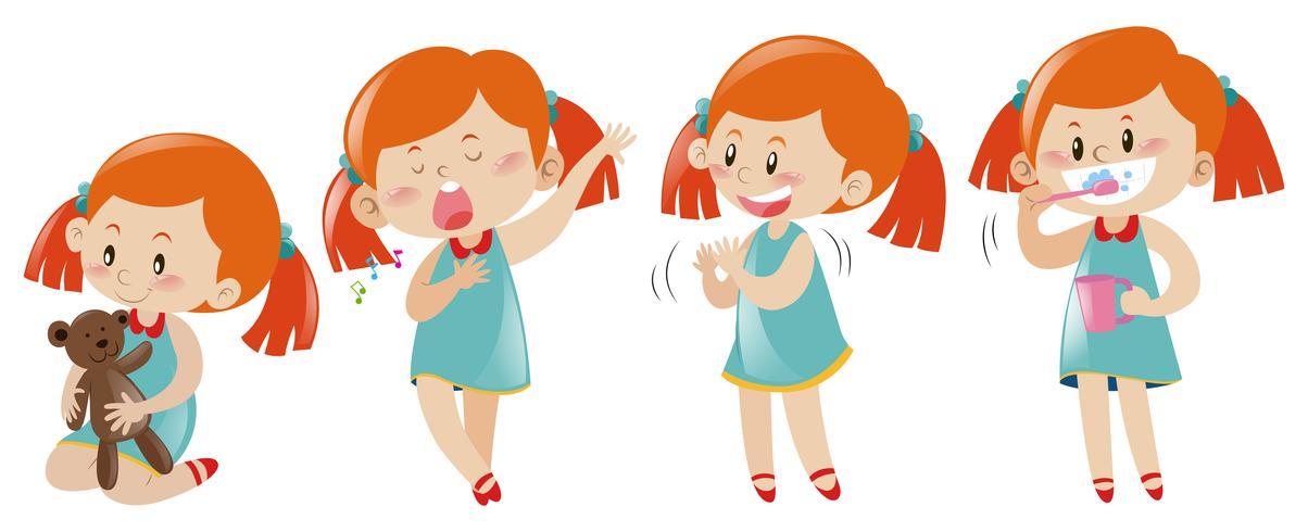 Mädchen in vier verschiedenen Aktionen