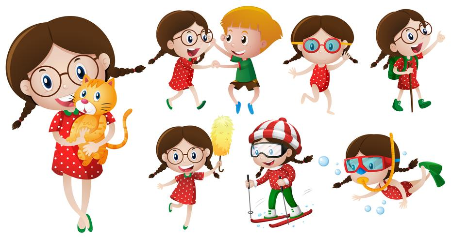 Girl with glasses doing different activities
