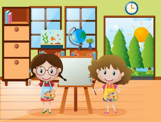 Två tjejer med pensel och färgpalett