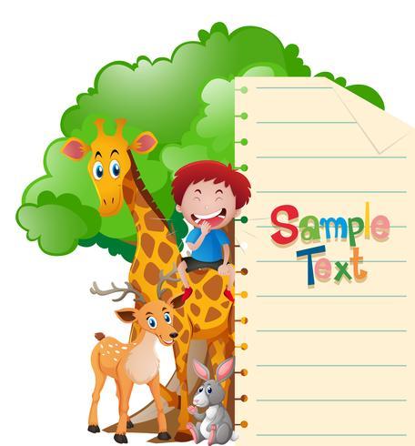 Pappersmall med vilda djur och pojke