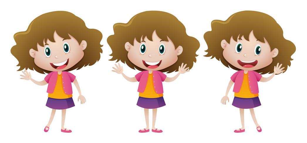 Fille heureuse en jupe violette