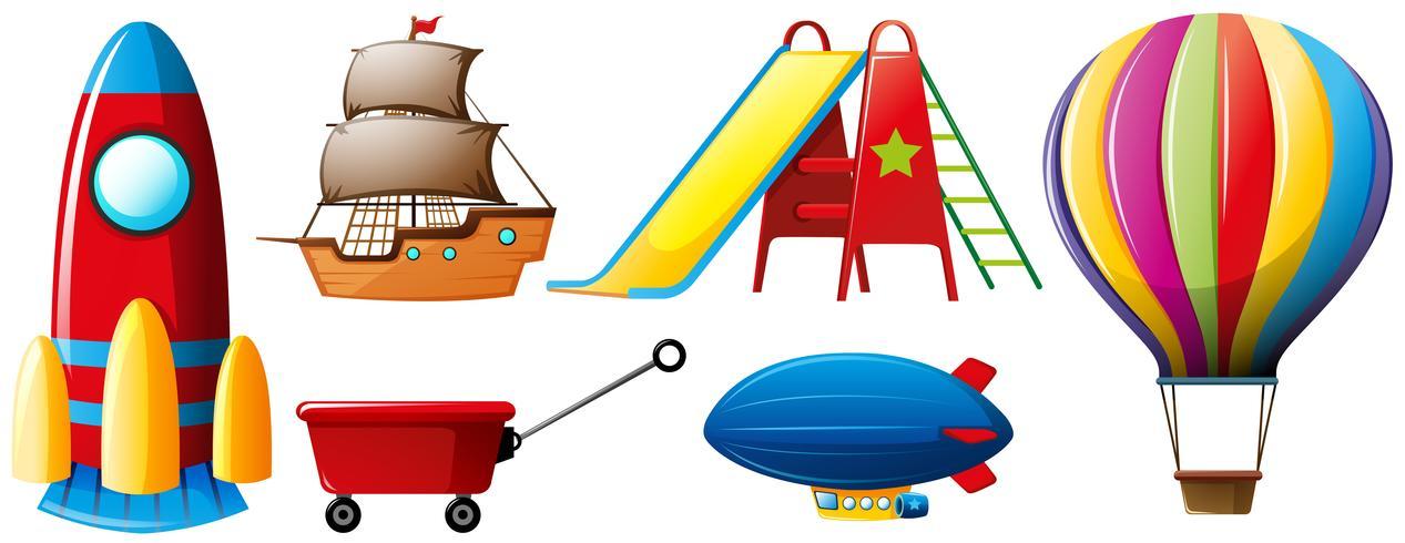 Diversi tipi di trasporto e giocattoli vettore