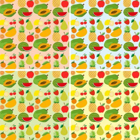 Sömlös bakgrundsdesign med färska frukter