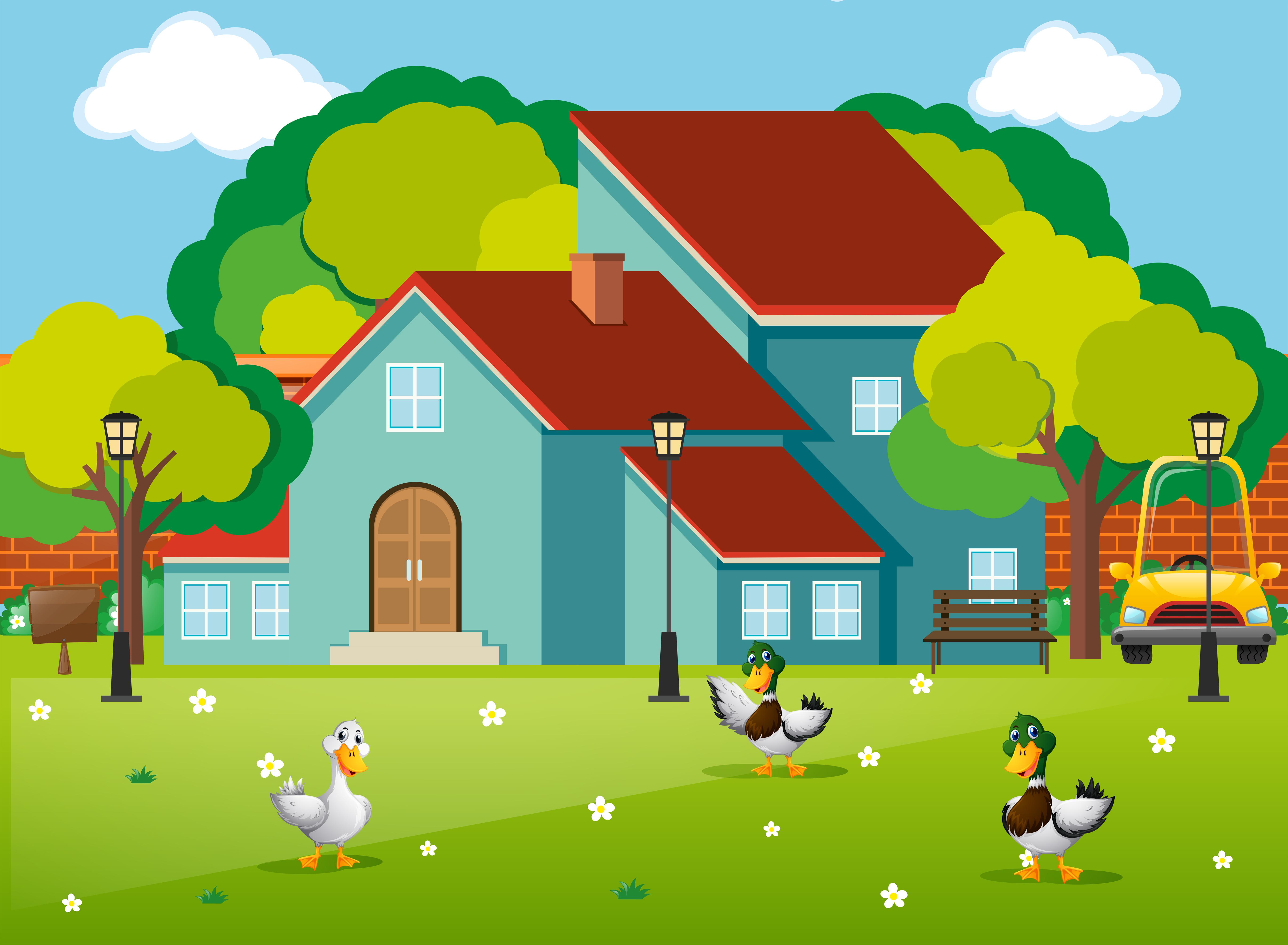 Three Ducks In The Front Yard Download Free Vectors Clipart Graphics Vector Art