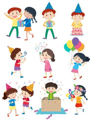 Miúdos que fazem atividades diferentes na festa
