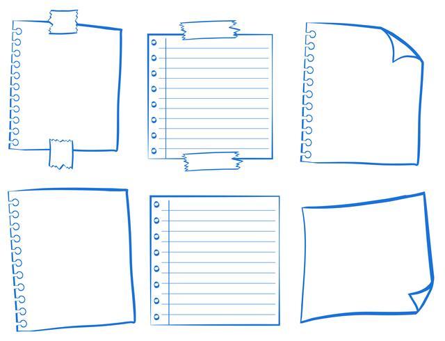Doodle design para papéis em branco