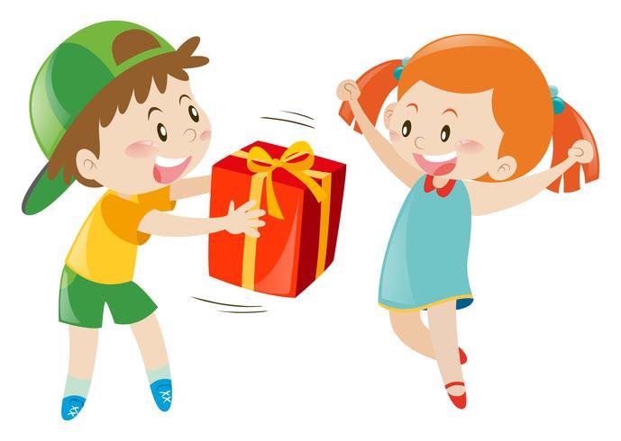 Pojke ger present till tjej