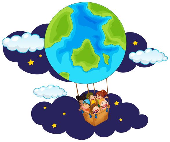Children riding balloon at night