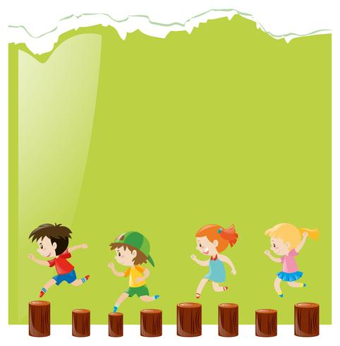 Background template with kids on logs