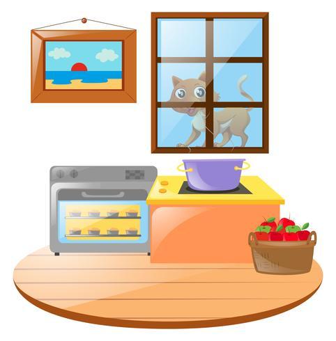 Escena de cocina con gato fuera de la ventana.