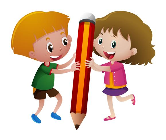 Boy and girl holding big pencil