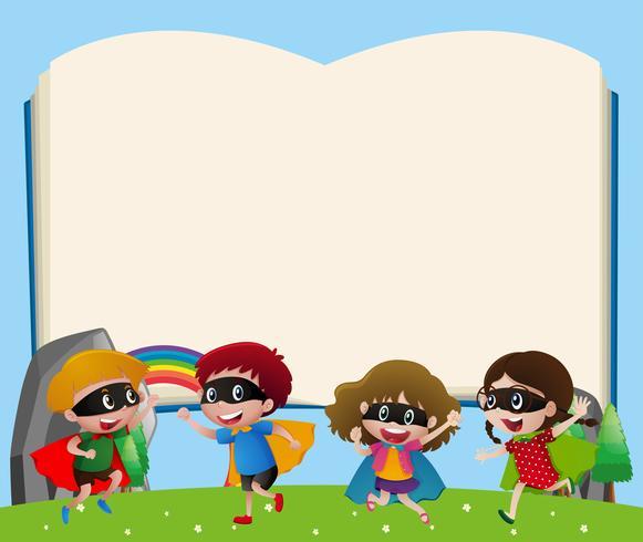 Grensmalplaatje met kinderen die held spelen
