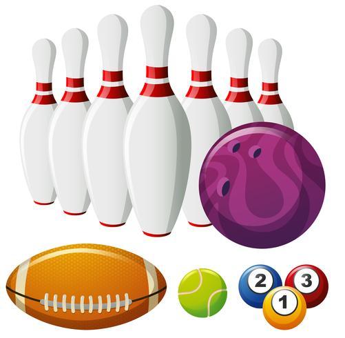 Pinos de boliche e diferentes tipos de bolas