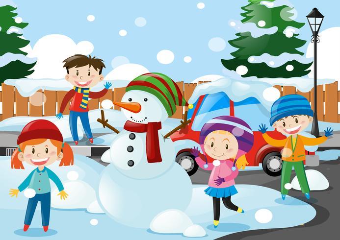 Muitos, crianças, ficar, em, a, neve