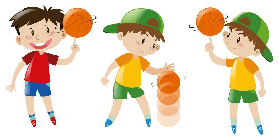 Tres niños jugando baloncesto