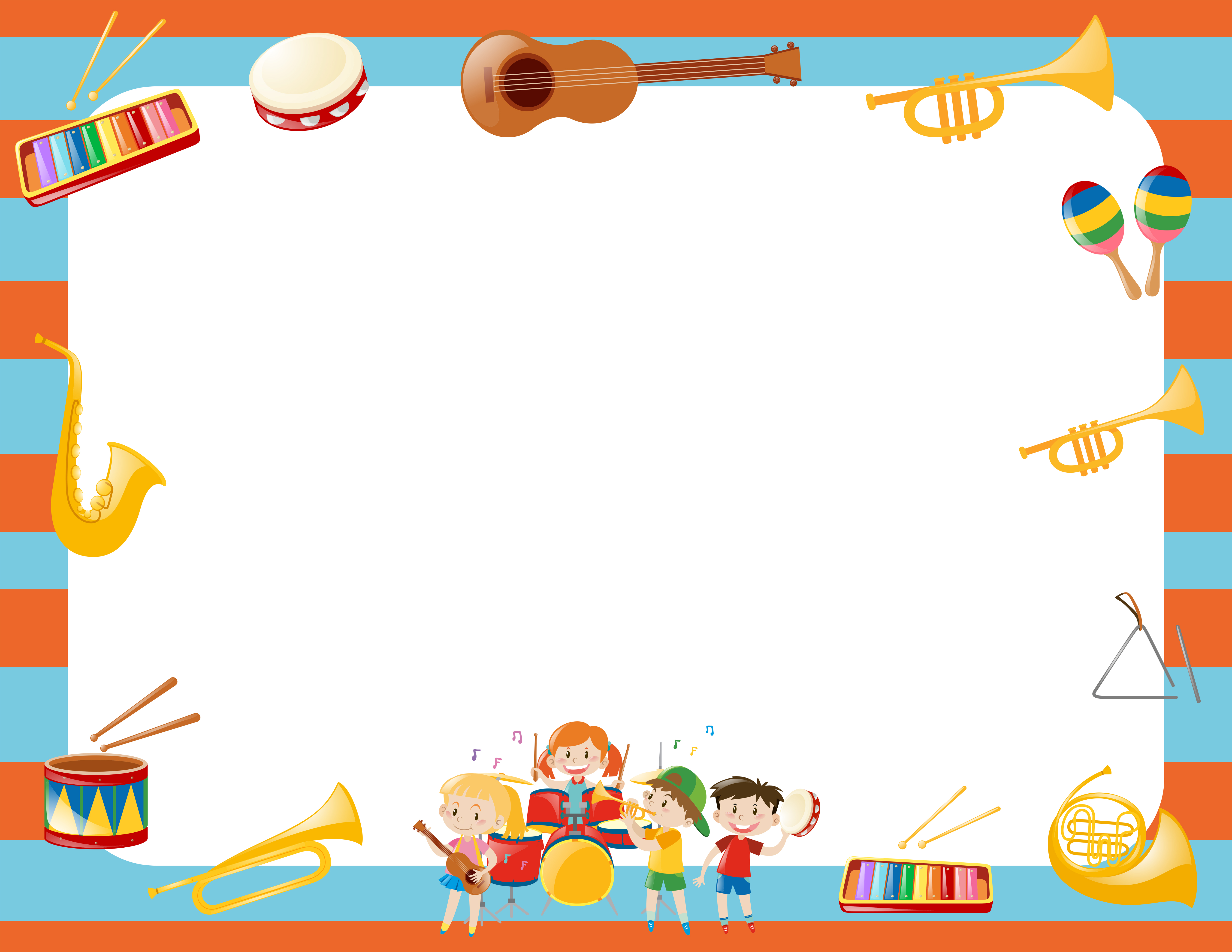 Border template with musical instruments - Download Free ...