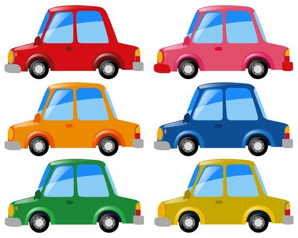 Carros em seis cores diferentes