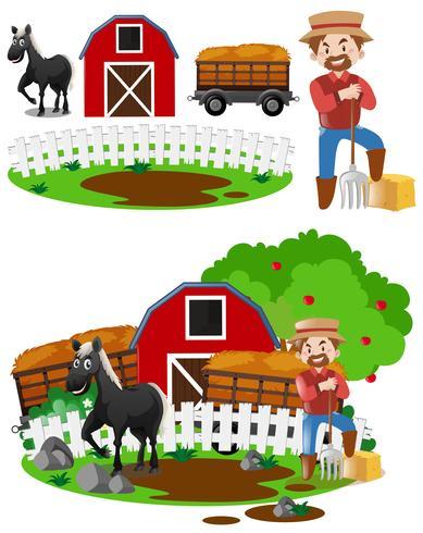 Agricultores e cavalo na fazenda