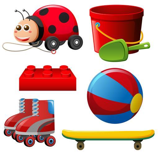 Diversi giocattoli in colore rosso