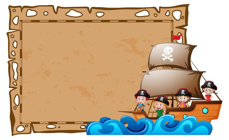 Grens sjabloon met kinderen als piraten
