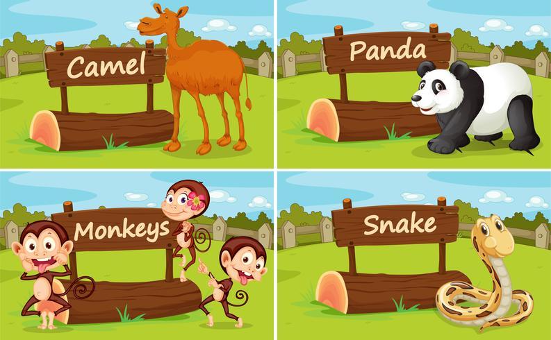 Vilda djur av träskylt vektor