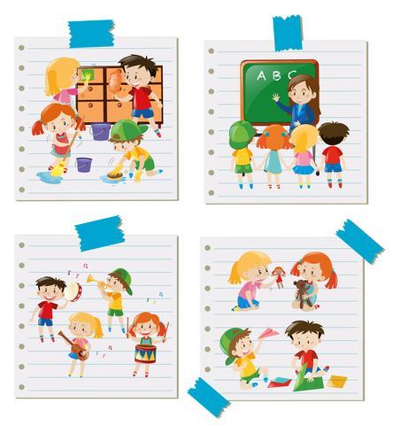 Niños haciendo diferentes actividades juntos.