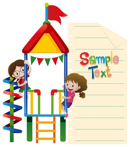Paper template with kids plaing at playhouse