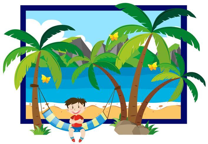 Sommarplats med pojke på hängmatta