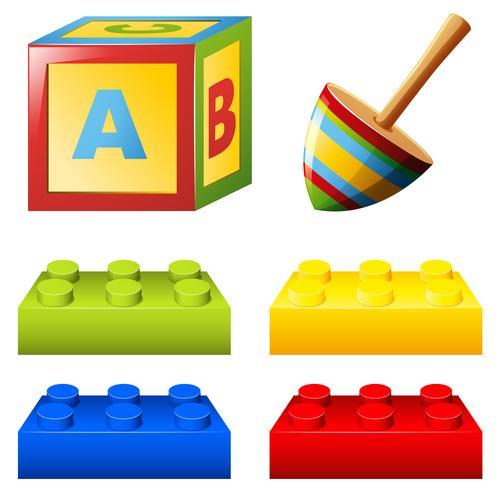 Bloco de alfabeto e tijolos coloridos
