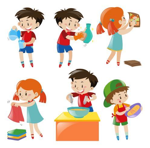 Crianças, fazendo, diferente, coisas