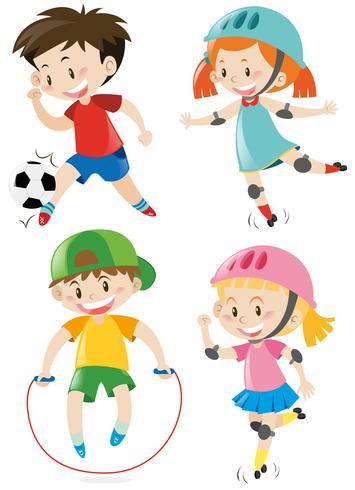 Cuatro niños haciendo diferentes deportes.